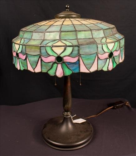 Leaded Stain Glass Lamp With Gilt Bronze Made By Lamb Bros. U0026 Green Of  Nappanee, Indiana, Ca. 1910, 22 In. Tall.