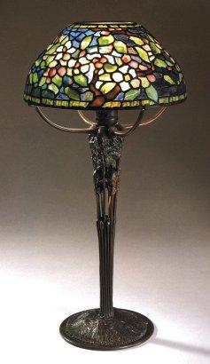 A Fine Tiffany Favrile Glass And Bronze Apple Blossom Lamp