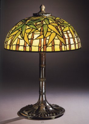 Tiffany Studios Bamboo Leaded Glass And Bronze Table Lamp