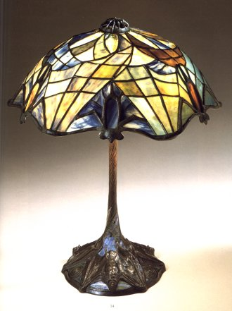 Tiffany Studios Bat Lamp On Rare Mosaic Tile Base Circa 1900