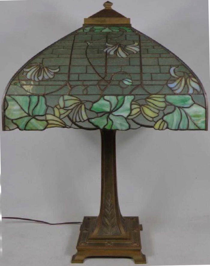R. Williamson Square Floral Leaded Lamp