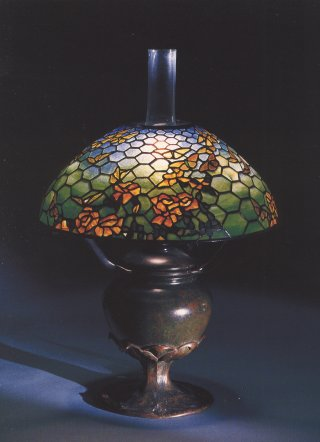 Tiffany Studios A Fine Butterflies And Roses Leaded Glass