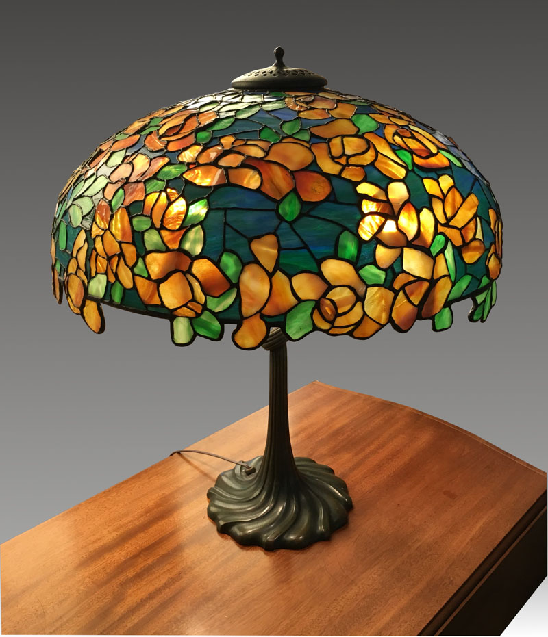 Bigelow & Kennard Yellow Rose Table Lamp