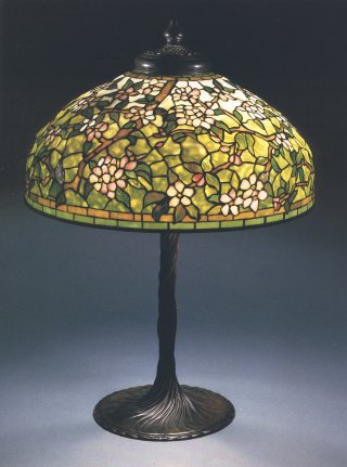 Tiffany Studios A Rare Cherry Blossom Leaded Glass And
