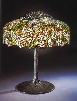 A Cherry Tree Leaded Glass And Bronze Table Lamp Circa 1910