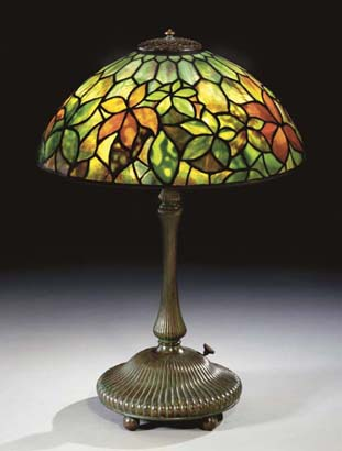 Tiffany Studios Woodbine Leaded Glass And Bronze Table Lamp C1910