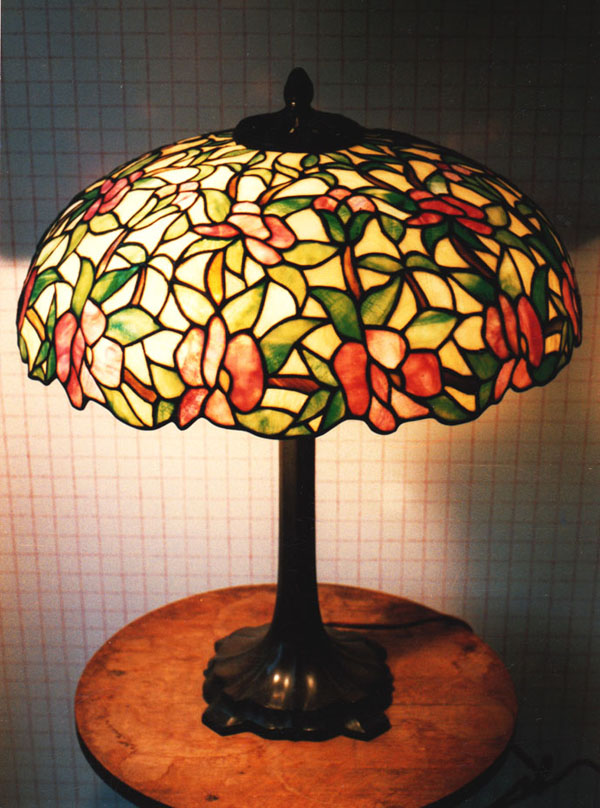 J A Whaley Floral Leaded Lamp, New York