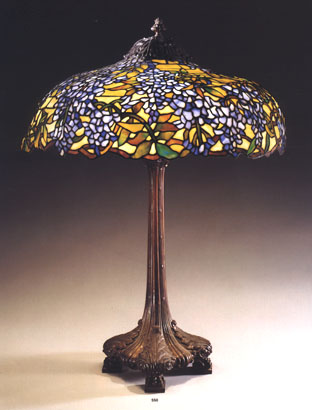 A Duffner U0026 Kimberly Leaded Glass And Gilt Bronze Wisteria Table Lamp,  C.1915