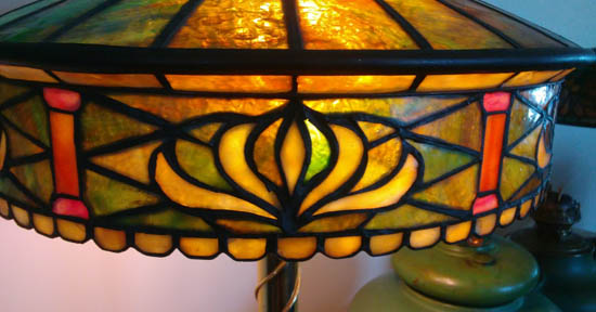 John Morgan & Sons, Lotus Leaded Glass Table Lamp