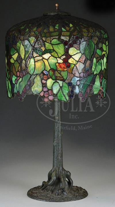 Unique Art Glass Amp Metal Company Grape Table Lamp