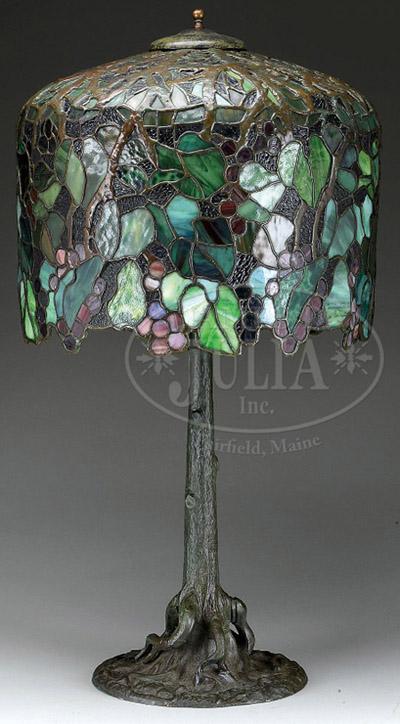 Unique Art Glass Amp Metal Company Grape Table Lamp