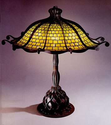 A Rare Octopus Leaded Glass And Bronze Table Lamp Tiffany