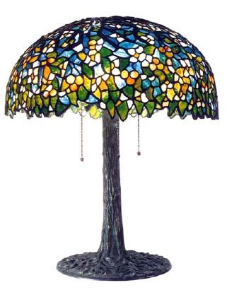unique floral table lamp on tree trunk base. Black Bedroom Furniture Sets. Home Design Ideas