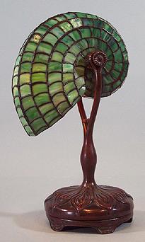 Tiffany Nautilus Favrile Glass & Bronze Table Lamp