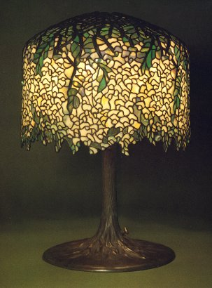 Tiffany Studios White Wisteria Leaded Glass And Gilt Bronze Table Lamp