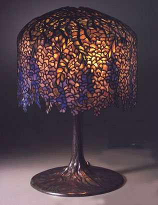 A Very Fine Tiffany Favrile Glass And Bronze Wisteria Lamp