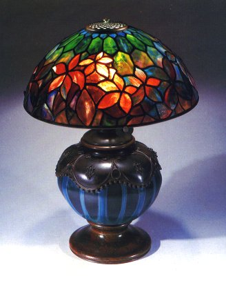 Tiffany Studios Woodbine Leaded Glass Favrile Glass And Bronze Table Lamp